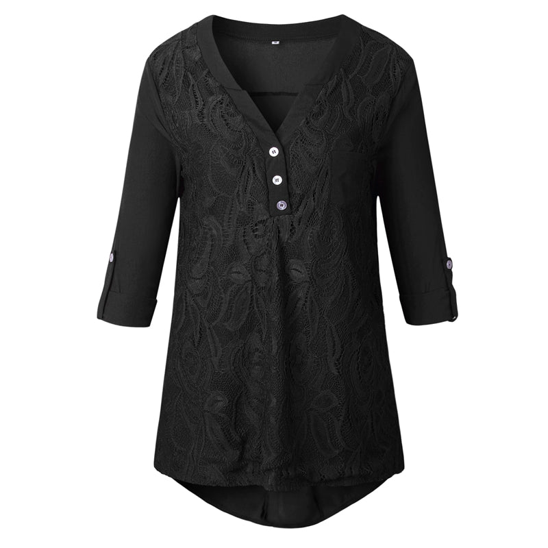 Costbuys  Plus Size Boho Tunic Tops For Women Summer Long Sleeve Floral Lace Blouse Ladies Elegant Chiffon Office Shirt - 1 / S