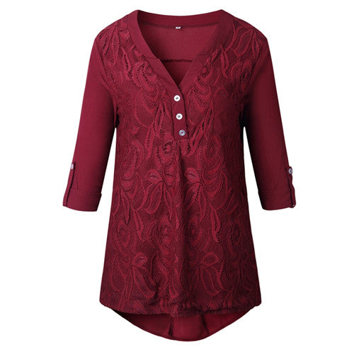 Costbuys  Plus Size Boho Tunic Tops For Women Summer Long Sleeve Floral Lace Blouse Ladies Elegant Chiffon Office Shirt - 3 / S
