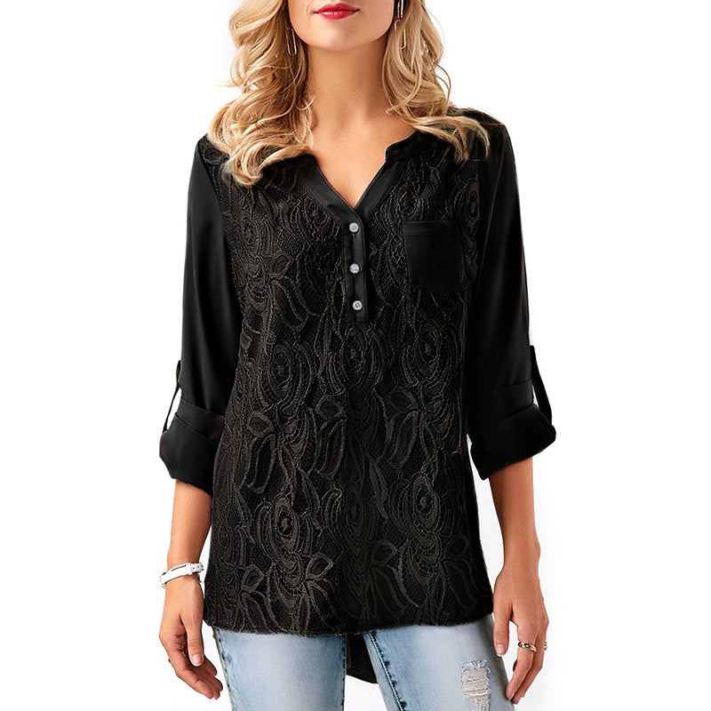 8a21a07f553 Plus Size Boho Tunic Tops For Women Summer Long Sleeve Floral Lace Blouse  Ladies Elegant Chiffon