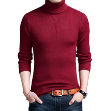 Plus Size M-4XL Sweater Men High Collar Wool Sweater Autumn Winter Pullovers Men Casual Slim Fit Knitting Pull Homme