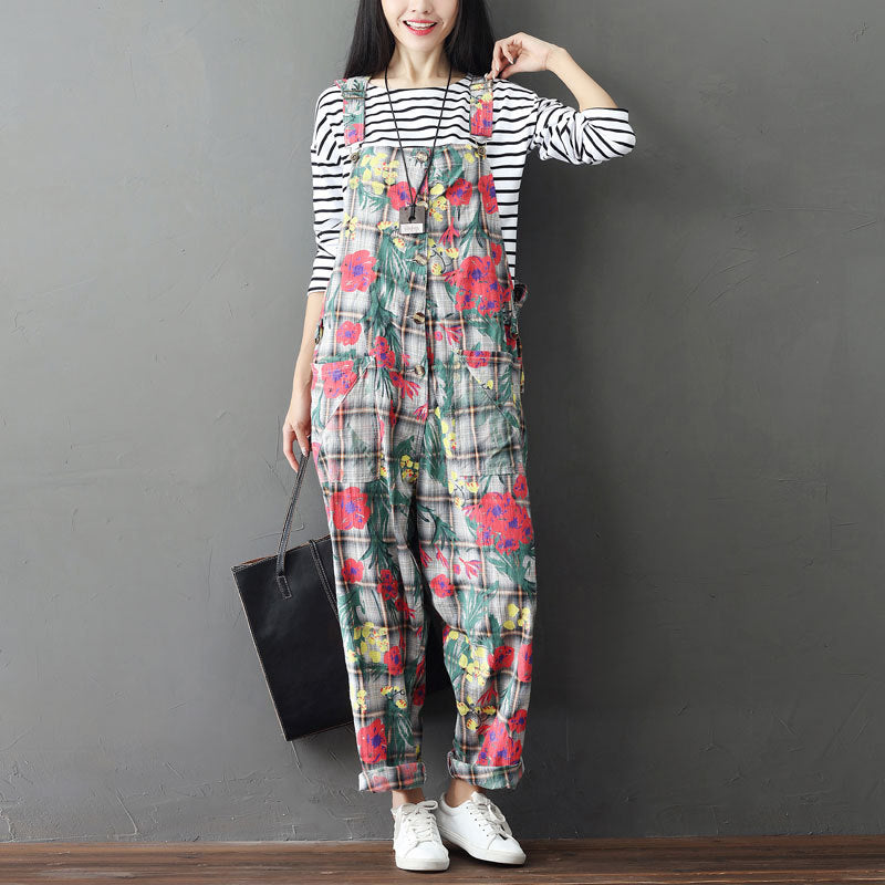 b588f797b5 Plus Size Rompers Womens Jumpsuit Autumn Winter Elegant Overalls for Women  Oversize Cotton Leotard Floral