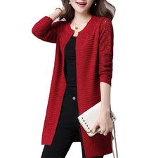 Plus size Women's Cardigan Sweater and Long Sections Wool Sweaters Slim Tight Bottoming Knitted Cardigans