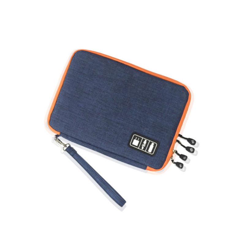 Costbuys  Portable Cable Storage Bag Electronic USB Drive Organizer Case Gadget Travel Bag - Blue- Double Layer
