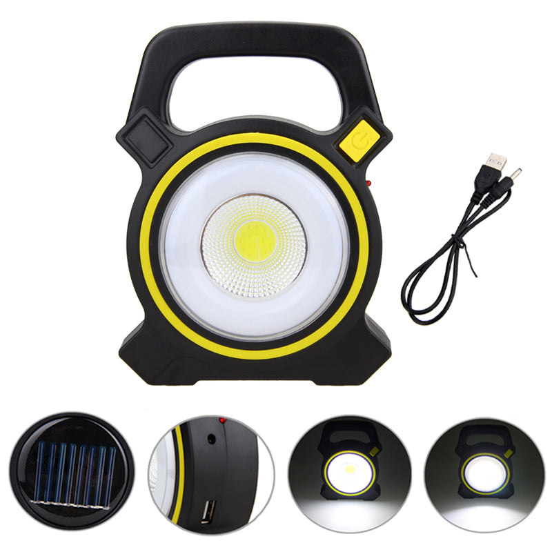 Costbuys  Portable Outdoor Camping Light COB LED 10W Solar Power Rechargeable Lamp Working Lantern Warning Light with Built-in B