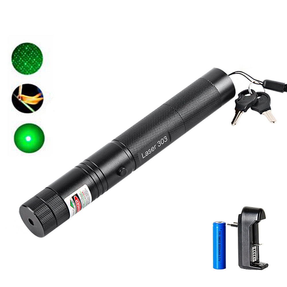 Costbuys  Powerful Green Laser Pointer 532nm 5mW 303 Laser Pen Adjustable Focus Burning Match Beam With 18650 Battery+Charger -