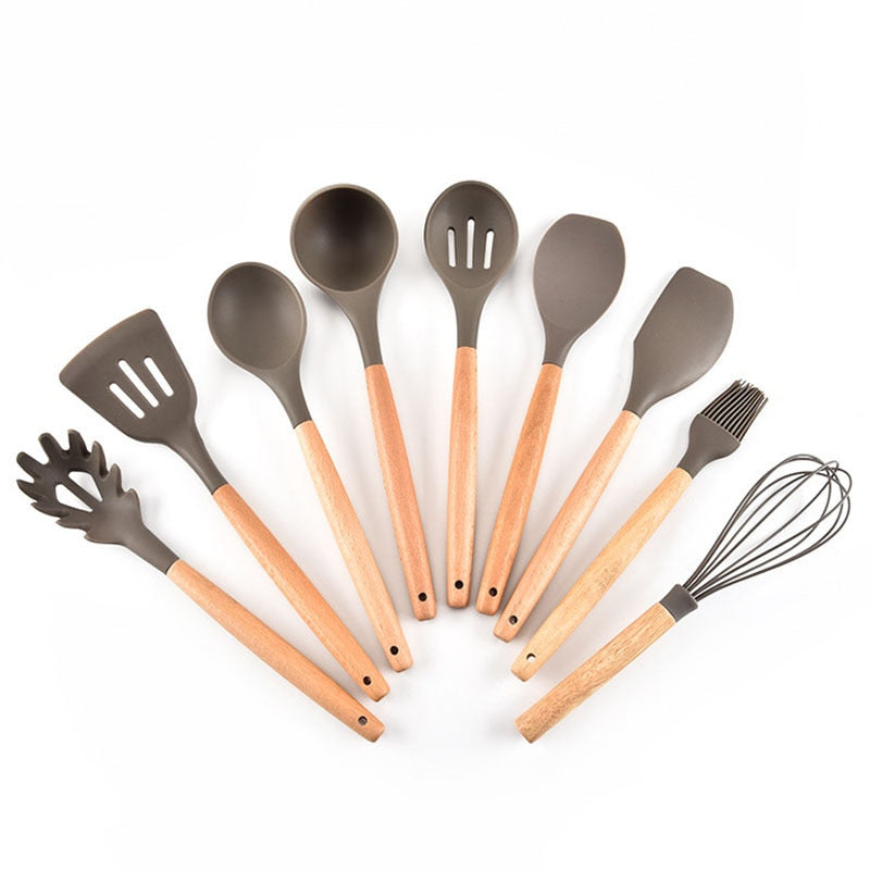 Costbuys  Premium Silicone Cooking Utensil Set 9 Piece Home Kitchen Accessories Wood Cooking Utensils Tools Set for Nonstick Coo