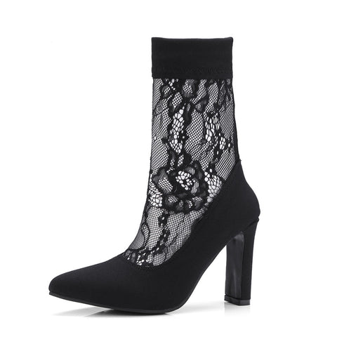 1e97856f38c Rucan Women Snakeskin Pattern Toe Zip Thick Pointed Boots Shoes ...