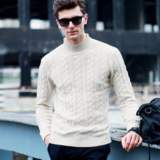 Pullover Men Knitwear 100% Wool Spring Mens Sweater Pullovers Male Casual Sweaters Classic Simple Solid Color Men Sweater 12