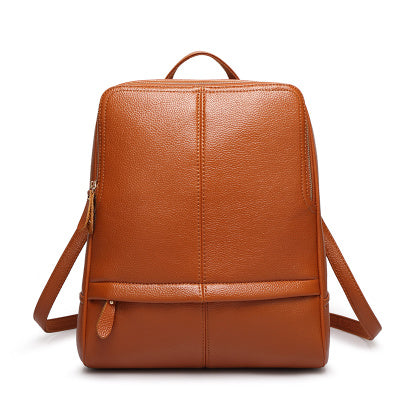 Costbuys  New Quality Leather Backpack Women Backpack For Teenage Girls Fashion Rucksack Students School Bags - Brown