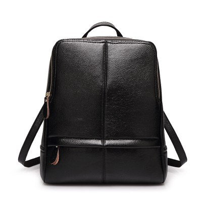 Costbuys  New Quality Leather Backpack Women Backpack For Teenage Girls Fashion Rucksack Students School Bags - Black