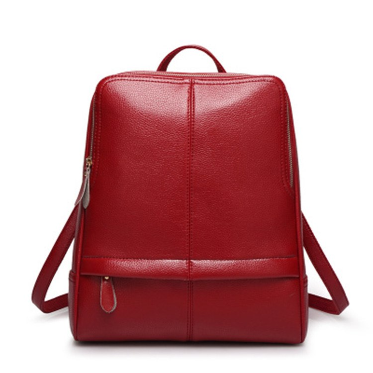 Costbuys  New Quality Leather Backpack Women Backpack For Teenage Girls Fashion Rucksack Students School Bags - Wine