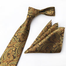2PCS 8cm Necktie And Handkerchief Set Mens Paisley Tie And Pocket Squares Fashion Plaid & Floral Ties Wedding Red Tie