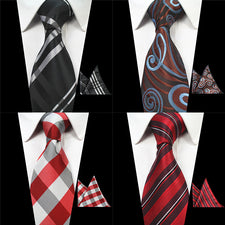 2PCS Neck Ties And Hanky Set Mens Red Tie Paisley Tie Silk Jacquard Woven Men Classic Necktie For Wedding Business Party