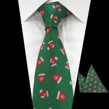 2pcs Men's Christmas Tie Set Fashion & Novelty Green Red Black 8cm Necktie and Handkerchief/Pocket Square For Men Gift