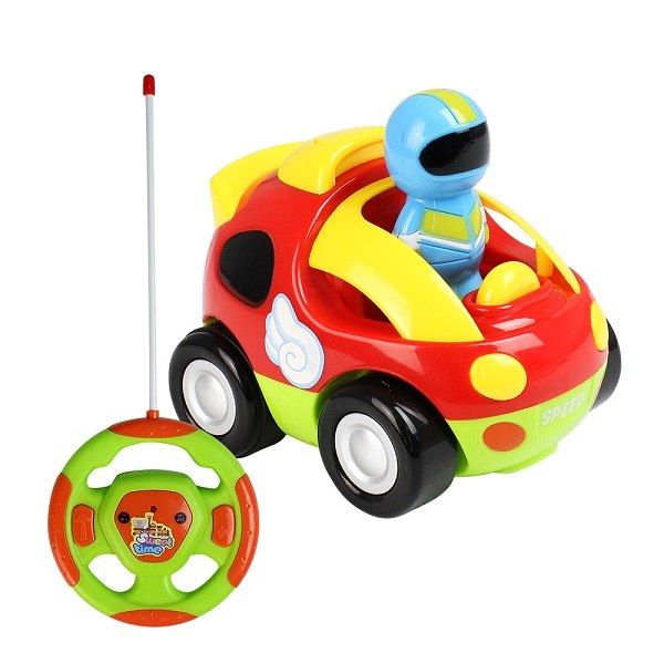 Costbuys  RC Car Cartoon Race Cars with Music Lights Electric Radio Control Toys for Children Baby Gift Kids Presents - Red