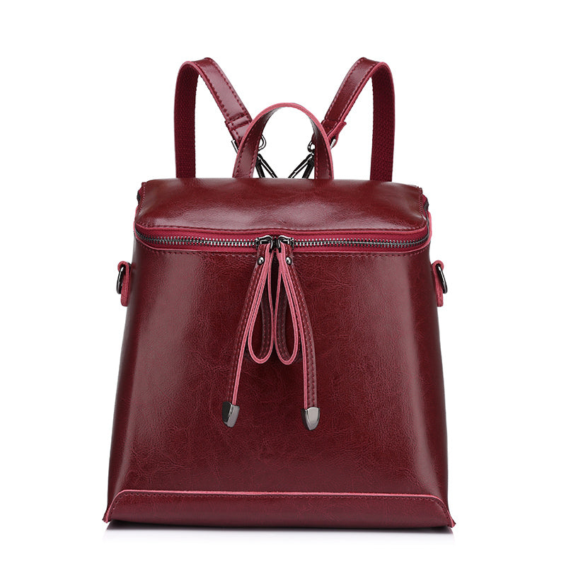 Costbuys  Women backpack vintage oil wax cow split leather backpack female school bags for teenagers girls shoulder bag - Red /