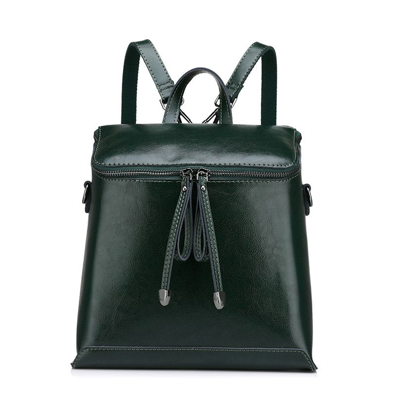 Costbuys  Women backpack vintage oil wax cow split leather backpack female school bags for teenagers girls shoulder bag - Green