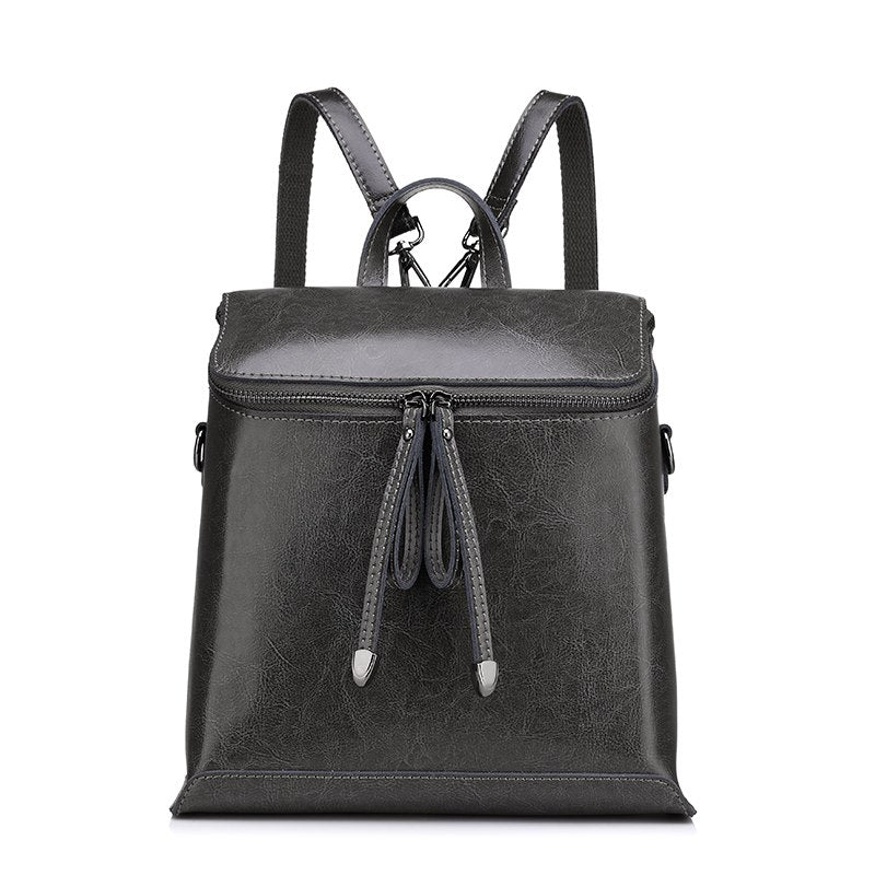 Costbuys  Women backpack vintage oil wax cow split leather backpack female school bags for teenagers girls shoulder bag - Dark G