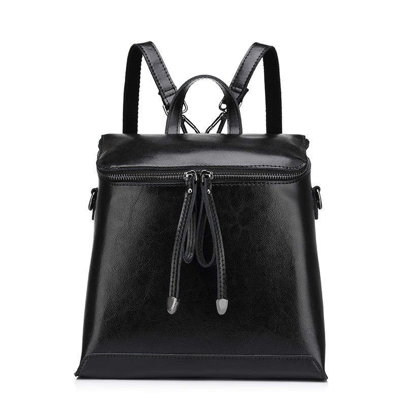 Costbuys  Women backpack vintage oil wax cow split leather backpack female school bags for teenagers girls shoulder bag - Black