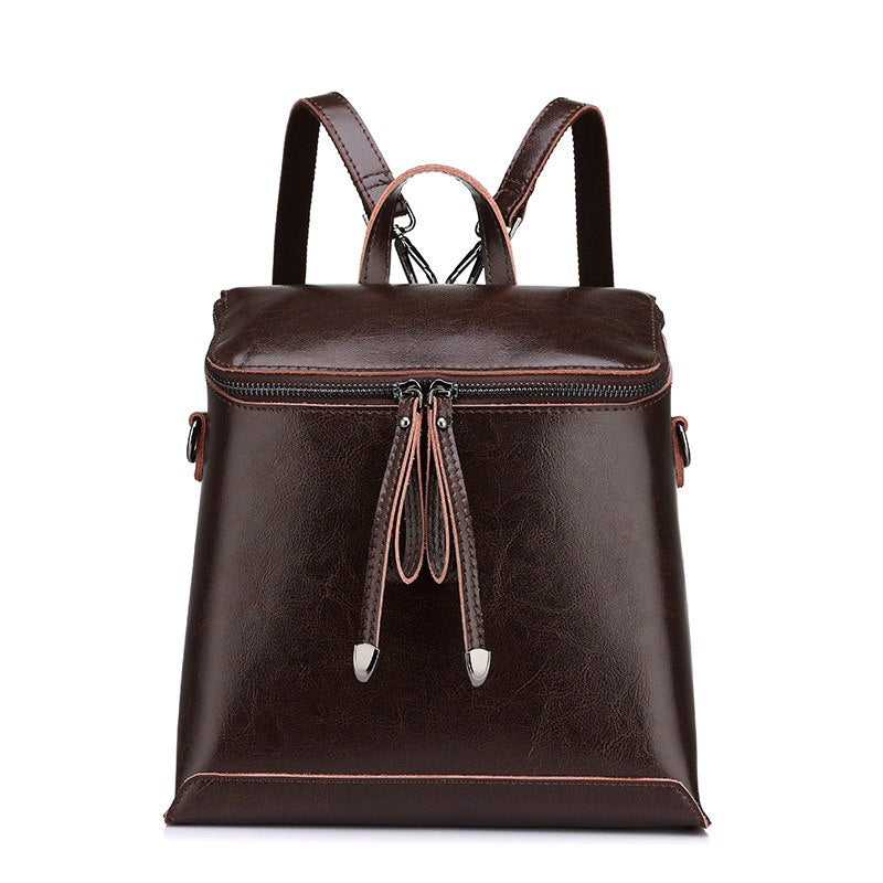 Costbuys  Women backpack vintage oil wax cow split leather backpack female school bags for teenagers girls shoulder bag - Brown