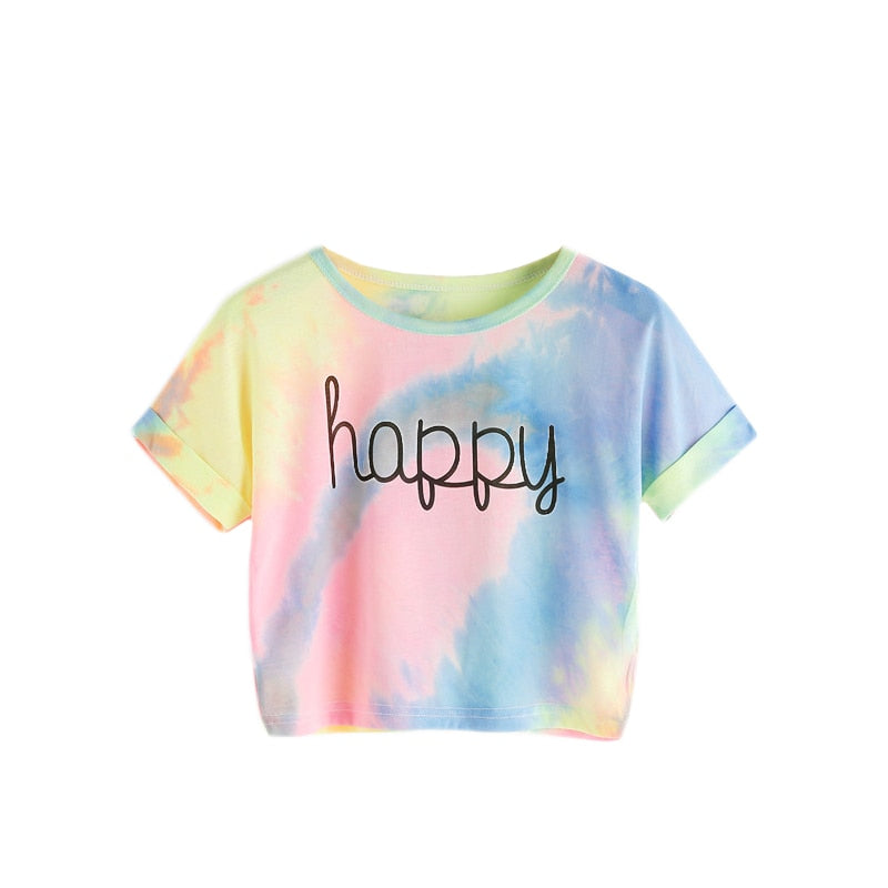 Costbuys  Happy Rainbow Pastel Tie Dye T-Shirt,Women Letter Print Tee,Beach-to-Bar,Night Club Party Short Crop T-shirts Summer -