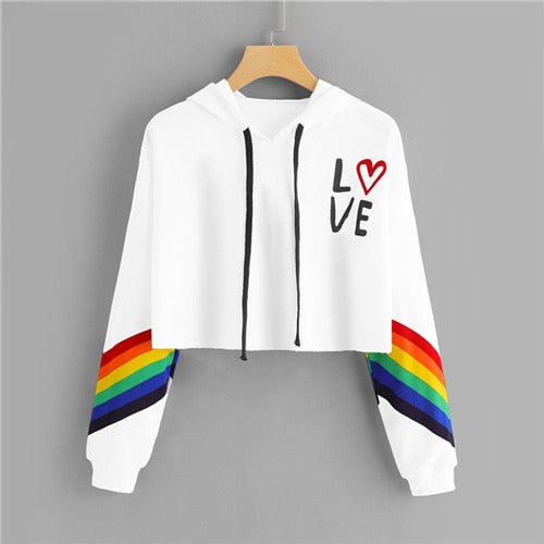 Costbuys  Striped Letter Rainbow Print Contrast Crop Hoodie Women Casual Autumn Style White Pullovers Long Sleeve Sweatshirt - W