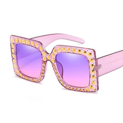 Oversize Square Sunglasses for Women Design Rhinestone Rivet Decoration Frame Sun Glasses Unisex Eyeglasses