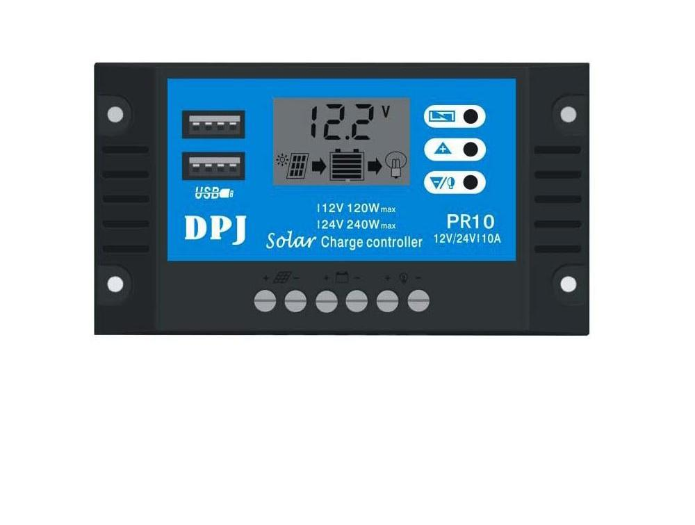 Costbuys  RP10 DC 12V 24V Auto 10A 100W 200W Solar Charge Controller PWM Solar battery charger Solar PV Regulators with LCD Disp