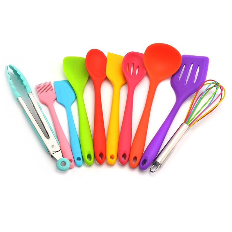 Costbuys  Rainbow 10Pcs/Set Heat-Resistant Silicone Cooking Tool Sets Non-stick Cookware Kitchen Baking Tool Kit Utensils Kitche