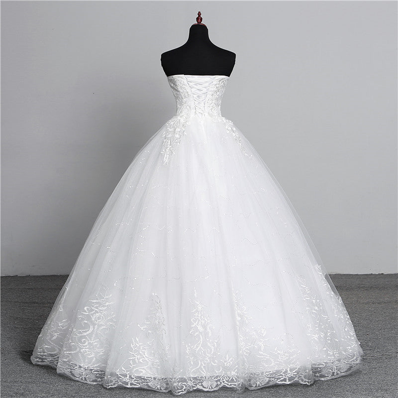 Simple Lace Flower Strapless Off White Fashion Sexy Wedding Dresses