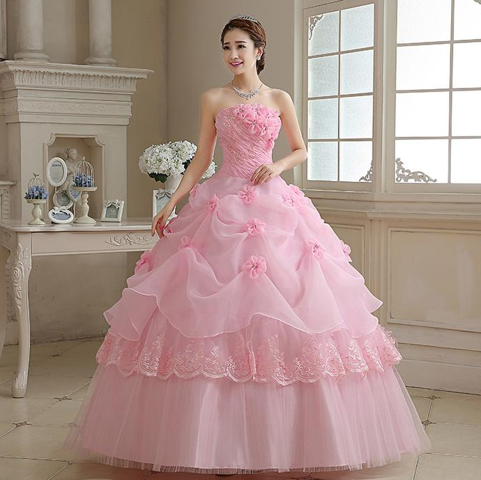 31e6c7cab49 Flowers Strapless Pink Red Princess bridal Wedding Dress Lace Up Ball Gown