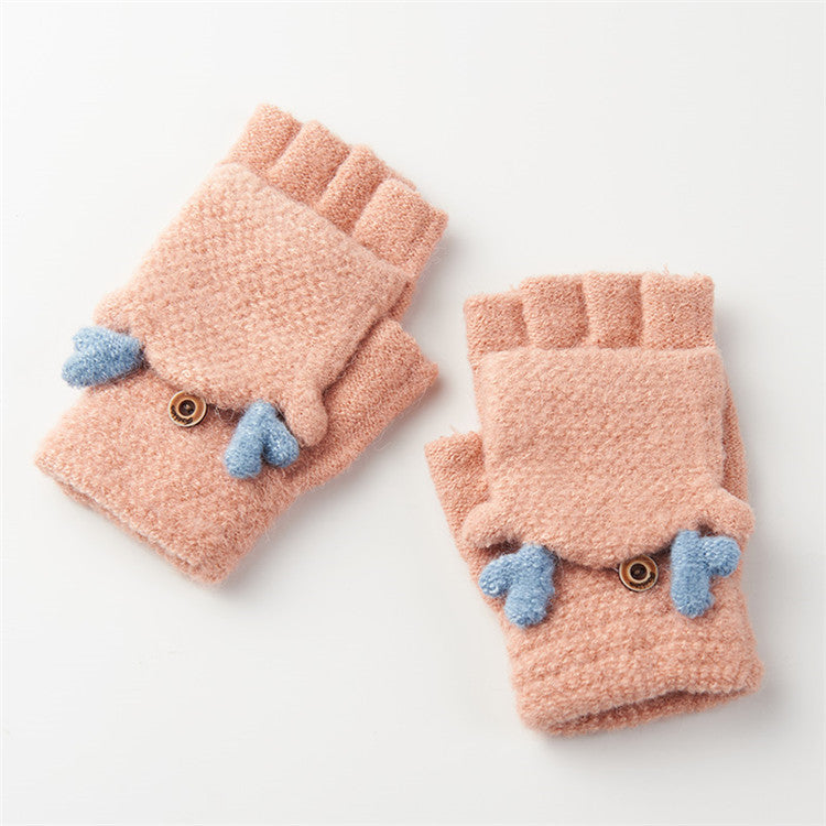 Costbuys  Winter Gloves Women Mitten Warmer Fingerless Gloves Girl Exposed Finger Gloves Winter Ladies Mittens - light pink / On