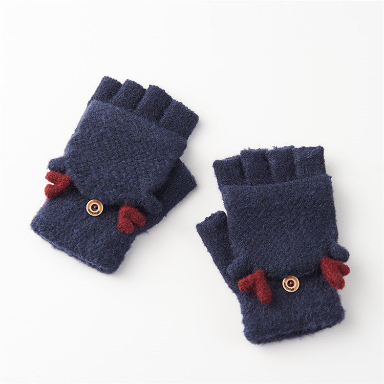 Costbuys  Winter Gloves Women Mitten Warmer Fingerless Gloves Girl Exposed Finger Gloves Winter Ladies Mittens - navy / One Size