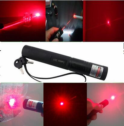 Costbuys  Red Laser Pointer 301 High Powered Adjustable Focus Burning Match Lazer Pointers Pen with Safe Key - 5mW