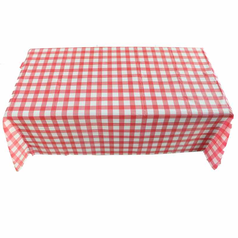 Costbuys  Red Plaid Disposable Plastic Table Covers Outdoor Picnic Party Table cloths Dinnerware Birthday Party Supplies - Red