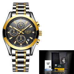 Relogio Masculino Men Watchs Luxury Sport Military Chronograph Quartz Watch Man Business Gold Wristwatch Relojes +BOX
