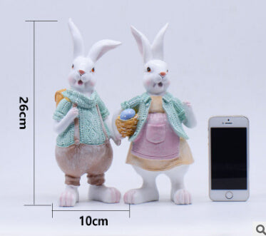 Costbuys  Resin Rabbit Home Decor Crafts Room Decoration Handicraft Porcelain Animal Rabbits Figurines Wedding Decorations Craft