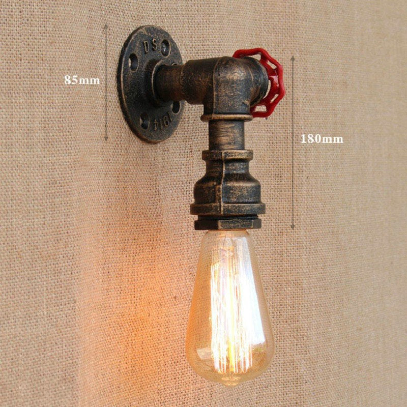 Costbuys  Retro Industrial Wall Lamp Vintage iron rust Water pipe Lamps E27 Loft Light Plated Indoor Lighting Home bedroom resta