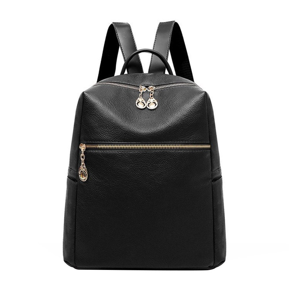 Costbuys  Retro Solid Color Faux Leather Women's Travel Casual Backpack Shoulders Bag - Black