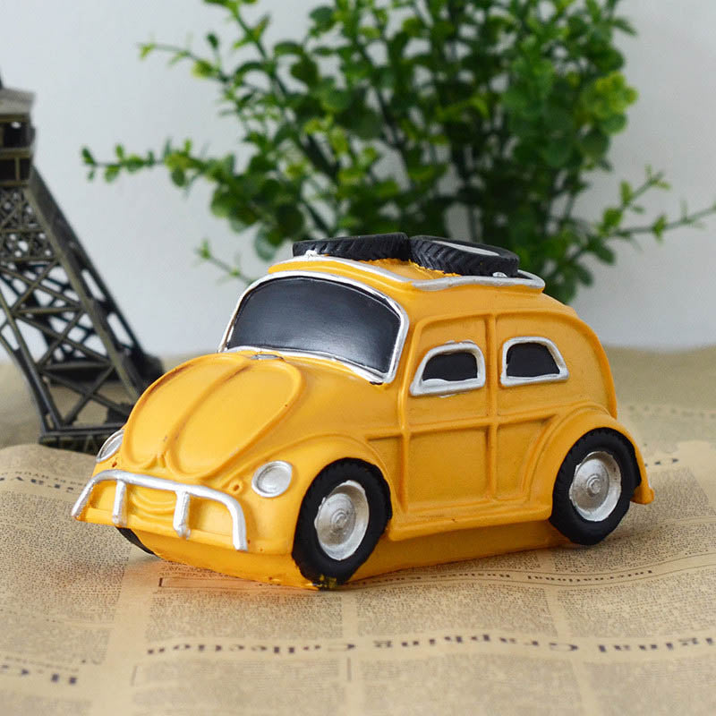 Costbuys  Retro Vintage Resin Car Resin Creativity Furnishing Figurines House Handwork Craft Decor Gifts Home Decoration - Yello