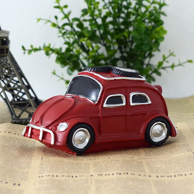 Costbuys  Retro Vintage Resin Car Resin Creativity Furnishing Figurines House Handwork Craft Decor Gifts Home Decoration - Red