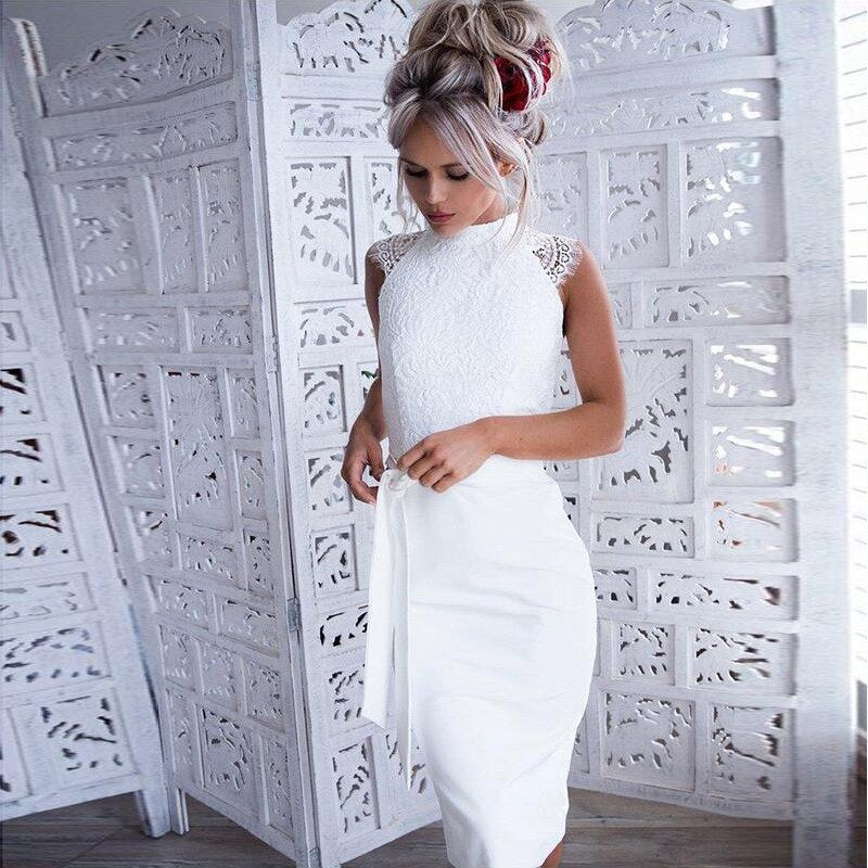 Retro Womens Sexy Lace Bodycon Cocktail Ladies Party Slim Pencil Midi Dress Casual Soft Bandage Dresses