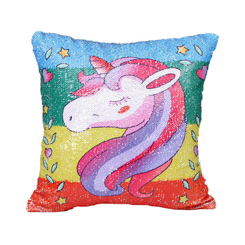 Costbuys  Reversible Sequin Mermaid Sequin Pillow Magical Color Changing Throw Pillow Cover Home Decor Cushion Cover Decorative