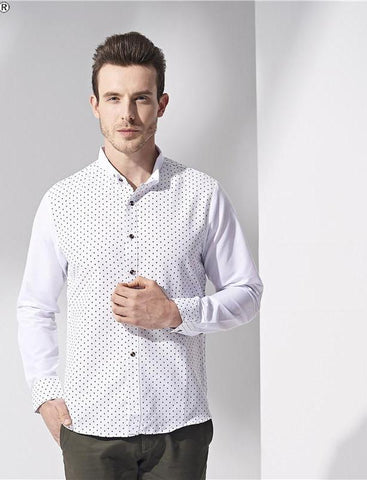 2018 High Quality Men Shirt Spring Long Sleeve Turn-Down Collar Dress Polka  Dot Print Casual Shirt Men Camisas 5d14cd45fb55