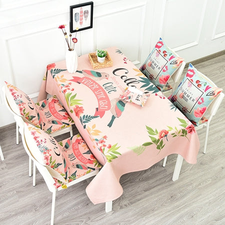 Costbuys  Romantic Bird And Flower Printed Table Cloth Modern Style High Quality Cotton Linen Table Cover Decorative Elegant Tab