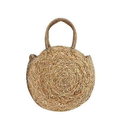 Costbuys  Round Straw Bags Hand Woven Palm Basket Women Shoulder Bag Bohemia Summer Beach Bag Oval Big Handbag Circle Tote Top-H