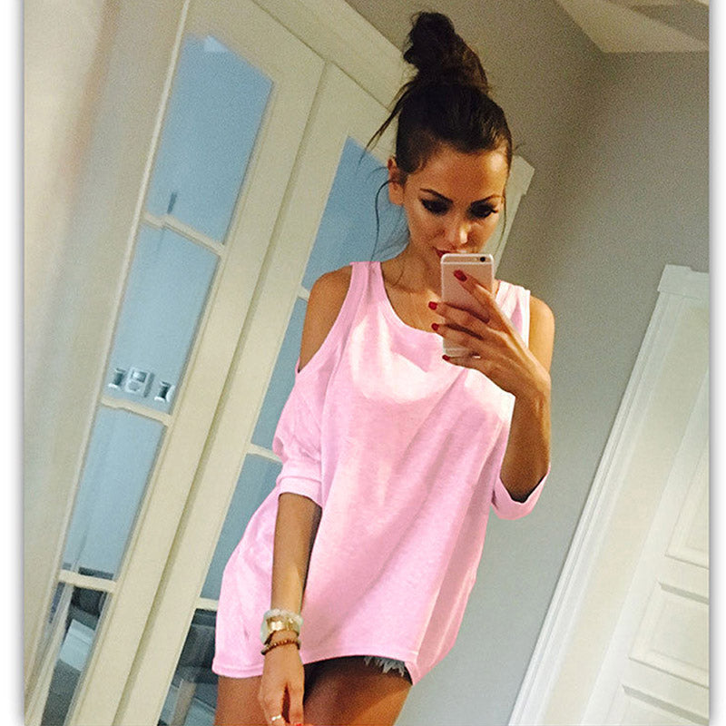 Costbuys  Women Summer Sexy Solid Half Batwing Sleeve Off Shoulder O Neck White Long Shirts - pink / S