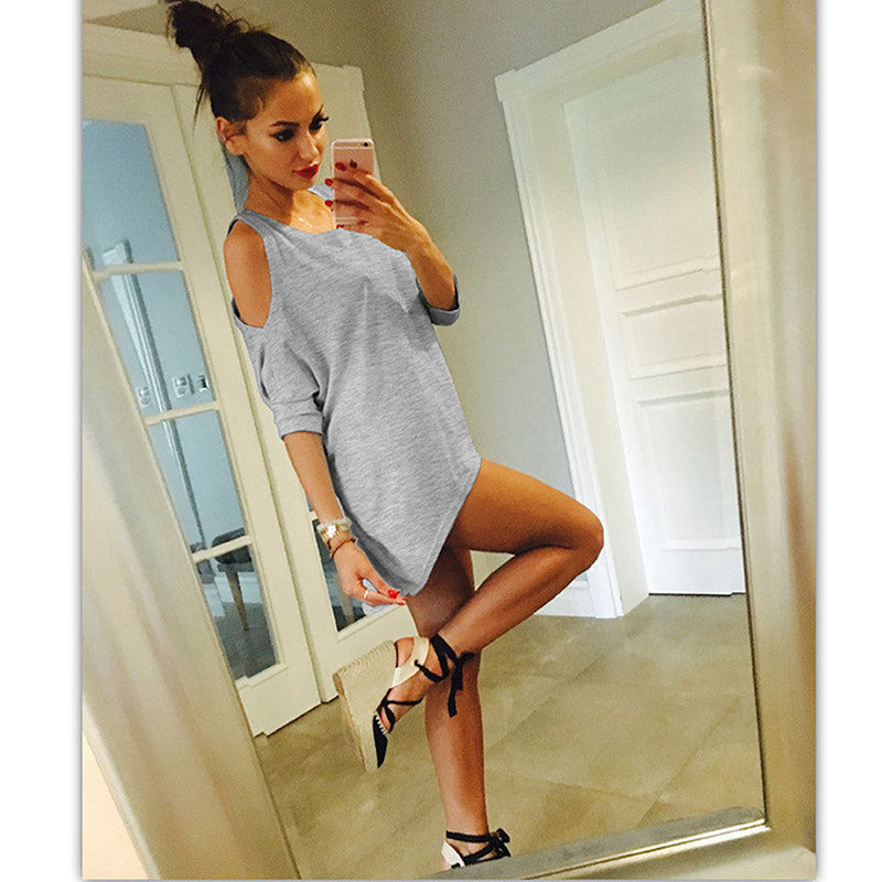 Costbuys  Women Summer Sexy Solid Half Batwing Sleeve Off Shoulder O Neck White Long Shirts - gray / S