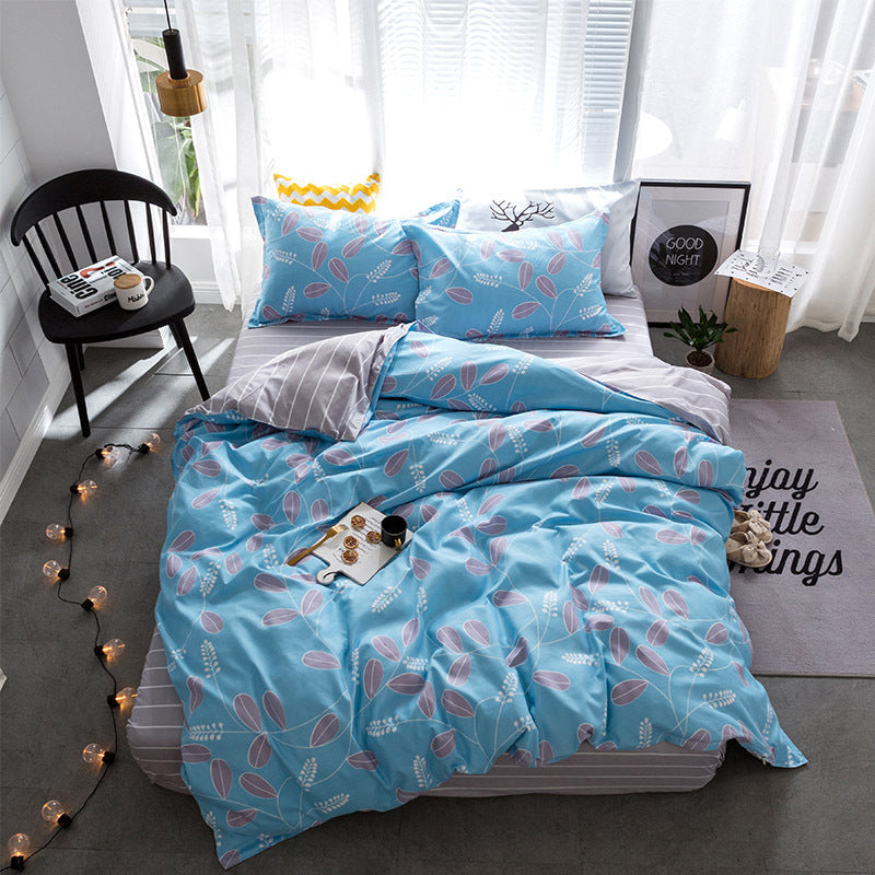 Costbuys  Hot Sale Duvet Cover Queen Bedding Set King Size 4pcs with Quilt Cover, Bed Sheet, PillowCase - 20 / Single 3pcs