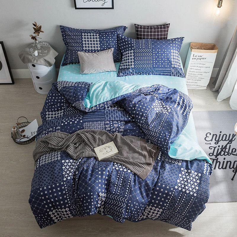 Costbuys  Hot Sale Duvet Cover Queen Bedding Set King Size 4pcs with Quilt Cover, Bed Sheet, PillowCase - 8 / Single 3pcs